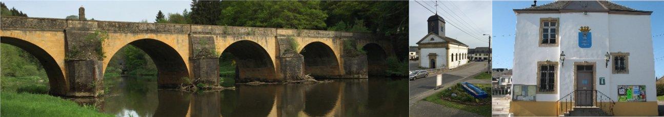 Pont saint Nicolas, Eglise et ancienne mairie de Chiny aujourd'hui le Bureau du Tourisme